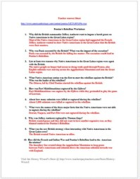 Pontiac's Rebellion Worksheet (French and Indian War) by ...