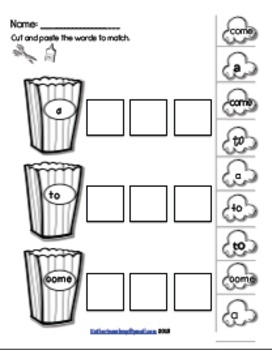 Kindergarten list-Popcorn Sight Word Activities by Katie