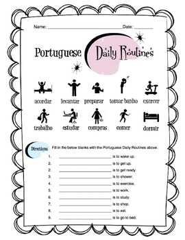 Portuguese Daily Routine Worksheet Packet by Sunny Side Up