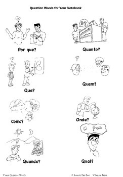 Portuguese Question Words Visuals (in color) by Lonnie Dai