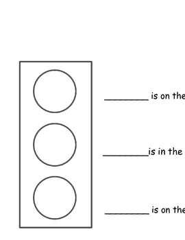 Positional Words Traffic Light: Top, Middle, Bottom by