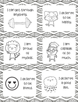Positive Affirmation Coloring Cards (Growth Mindset) by