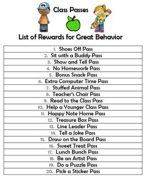 Positive Behavior Reinforcement: Class Passes & Choice