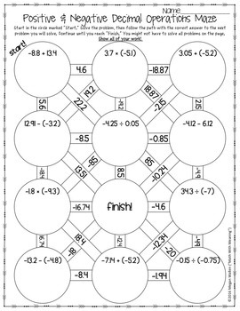 Positive & Negative Decimal Operations Maze Worksheet by