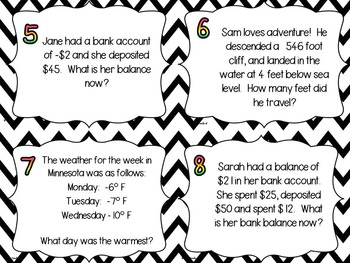 Positive and Negative Integer Word Problem Task Cards by