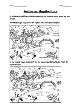 Positive and Negative Space Worksheet by Ms Krouse's Art