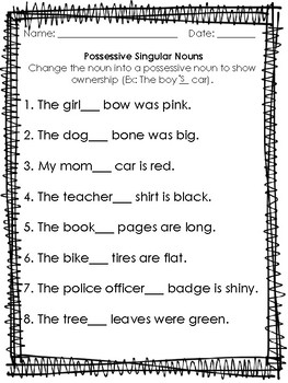 Printables Of Noun Worksheet For First Grade