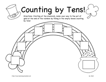 Pot of Gold Counting by Tens Worksheet K-2nd Grade by In