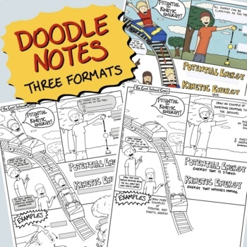 Potential and Kinetic Energy Comic with Doodle Notes by