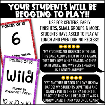 Powers of Ten Game for Math Centers or Stations by Fun in