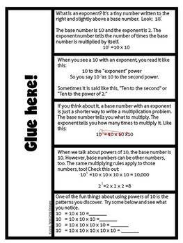 Powers of Ten, Exponents & Base Numbers Project-Based