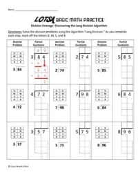 Practice Beginning Long Division- Worksheet has Boxes and ...