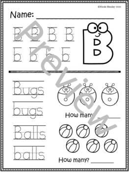 Practice Worksheets K-1: Letter Recognition, Handwriting
