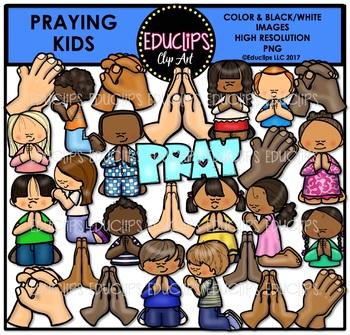 praying kids clip art