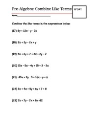 Combining Like Terms Practice Worksheet - Kidz Activities