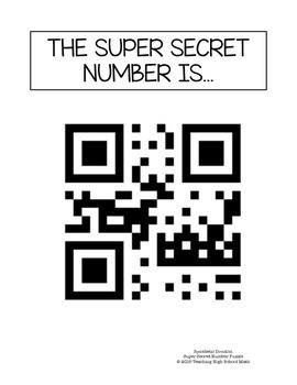 PreCalculus Super Secret Number Puzzle Synthetic Division