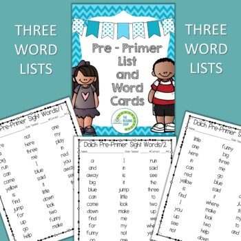 Dolch Pre-Primer Sight Word List and Word Cards by The