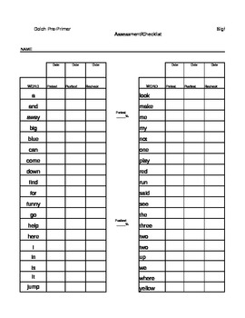 PrePrimer Dolch Sight Words Assessment Checklist by 1st