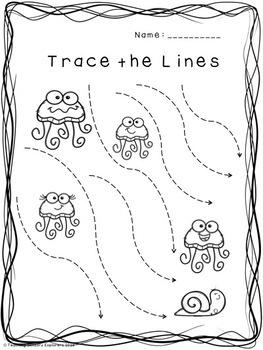 PreWriting Worksheets (Ocean Theme) by Teaching Sensory