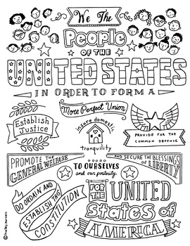 Preamble to the United States Constitution by Calico Cat