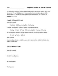 Precipitation Reactions and Solubility: Worksheet and ...