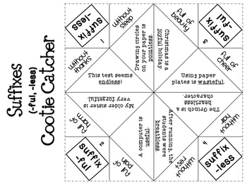 Prefix and Suffix Cootie Catchers {Fortune Tellers} by