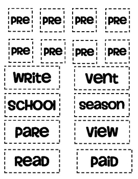 Prefix 'pre' matching and worksheets and quiz by Vanessa