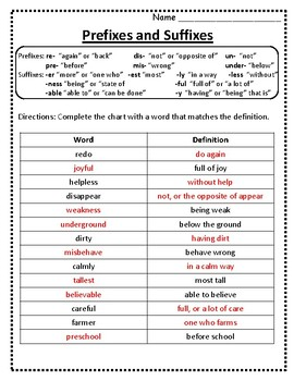 Root Words Prefixes And Suffixes Worksheet Prefixes And