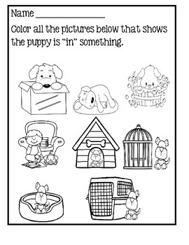 Free Prepositions Worksheets Coloring Pages Sketch