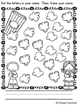 Preschool; Name Practice; Dot & Write by All Things