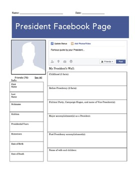 President Facebook Page Worksheet By The Wright La S