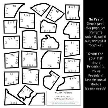 MULTIPLICATION President's Day Centers or Puzzles