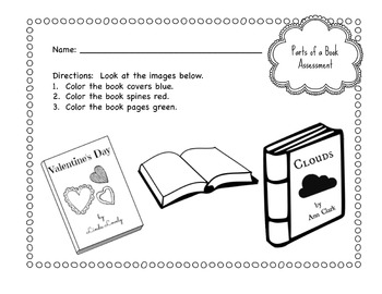 Primary School Parts of a Book Worksheet Bundle by Violet