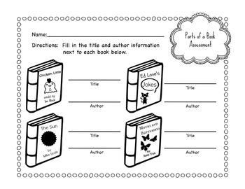 Primary School Parts of a Book Worksheet Bundle by Violet