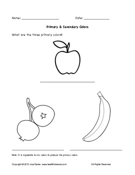 Primary and Secondary Colors Worksheet With Fruit by Lisa