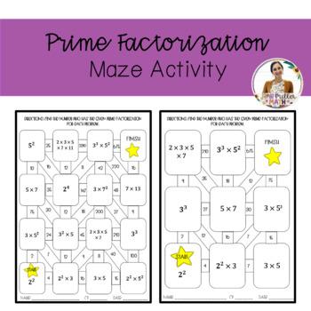 Prime Factorization Maze Activity by Sixth Grade Teachers