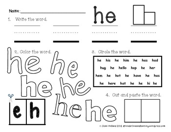 Primer Sight Words {Write, Color, Read, Find, Cut and