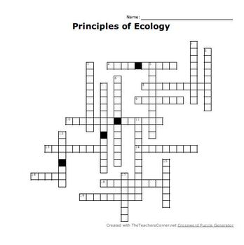 Principles of Ecology Crossword Puzzle by Mrs Stotts