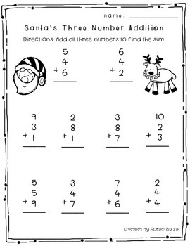 Print and Go 1st Grade Christmas Math Activities by Somer