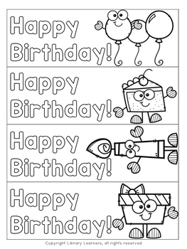 Printable Birthday Bookmarks to Color by Library Learners