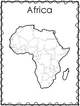 Printable Black and White Continent Maps and List of