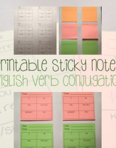 also printable post its sticky notes english verb conjugation chart rh teacherspayteachers