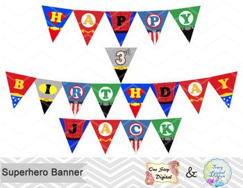 printable superhero banner superhero