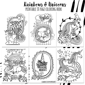 Coloring Pages, Unicorns & Rainbows, Positivity Themed