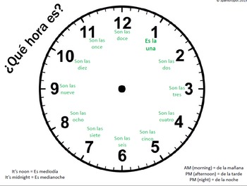 Printable clocks & attachable hands with Spanish hour and
