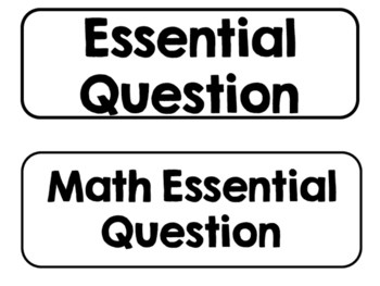 Printer Friendly 1st Grade Go Math! Essential Questions