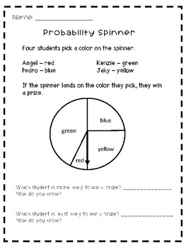 Probability Spinner Worksheet By Chungry For Learning