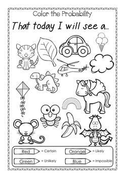 Probability easy , Grade One, Kindergarten, possible