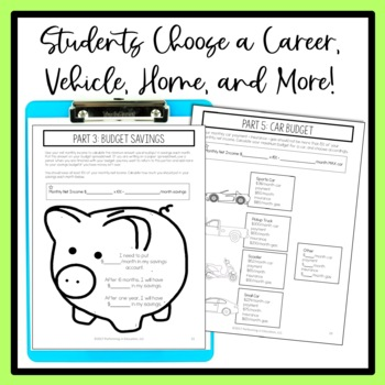 Project Based Learning: Create a Personal Budget 6th Grade