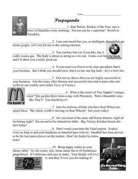Propaganda Worksheet By Beverly Brown
